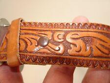 Burton Genuine Leather Cowhide Tool Carved Men Belt 36 Western Horseshoe Buckle