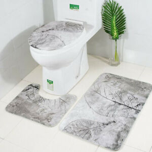 3 PCS/set Non-Slip Pedestal Rug Toilet Lid Cover Bath Mat Bathroom Pad BS