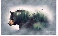 Black Bear Panel in Natural Habitat-Hoffman Fabrics-Digital Print-Birds
