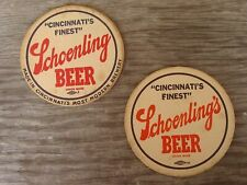 1950's SCHOENLING BEER Cincinnati Ohio COASTER SET - 2 Different - 4 1/4 INCHES