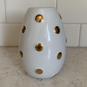 West Elm white gold dots bud vase