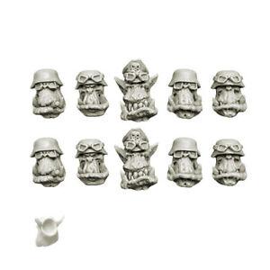 10 Heads With Helmet Glasses Ork Blitzkrieg Orcs Heads Goggles Bitz Spellcrow
