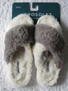AEROSOLES Indoor/Outdoor Memory Foam Slide Slippers Plush Gray/Beige size SMALL