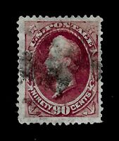 US 1870 Sc# 155  90 c Perry Used - Centered - Crisp Color - APS Certificate