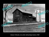 OLD LARGE HISTORIC PHOTO OF STATTON NEBRASKA, THE RAILROAD DEPOT STATION c1960