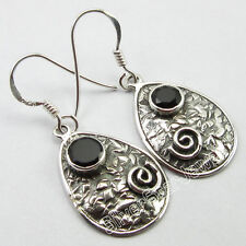 """INDIAN VINTAGE THEME Earrings 1.4"""" 4.0 Grams ! 925 Pure Silver BLACK ONYX Gift"""