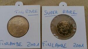 Lot de 2 FINLANDE 2001 les plus rares:  1 pièce 10 cent  + 1 piece 50 cent UNC
