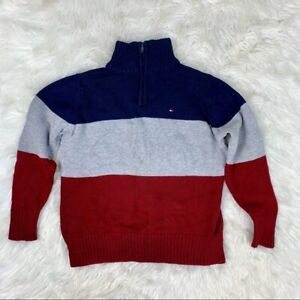 Tommy Hilfiger Boys Red/Gray/Blue Long Sleeve 1/4 Zip Sweater