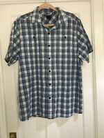 """THE NORTH FACE Blue And White Check Short Sleeve Shirt Size L Chest 46"""" Summer"""