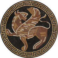 GRIFFIN ROUND Marble Mosaic WALL or FLOOR ART