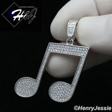 Uomini Donne 925 Argento Sterling Diamante Lab Bling Pendente charm nota musicale * SP153