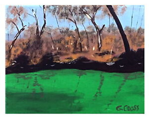 Abstract Texas Hill Country Acrylic Landscape River Painting Fast Free Shipping