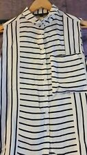 ✔✔✔FRENCH CONNECTION Top 8 10 Ivory Blue Striped Sleeveless Office Buttons down