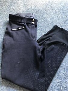 Ladies Equilibre Navy Full Silicone Seat Breeches. Size 32 Uk 14