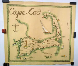 CAPE COD MAP_ORIGINAL HAND-COLORED, 1941 FOLK ART MAP_BRICK HOUSE STUDIO_MERMAID