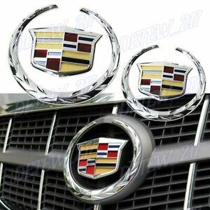 x2 Chrome Cadillac Front Grille Rear Trunk Lid Badge Emblem for Escalade SRX XTS