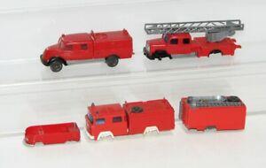 """Wiking 1:87 5 x Feuerwehrfahrzeuge """"für Bastler"""" FT64"""