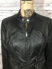BNCI By Blanc Noir Womens Black Sweater Front Faux Leather Jacket Sz S 7659