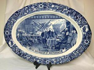 "Staffordshire Liberty Blue 20"" Declaration of Independence turkey platter"