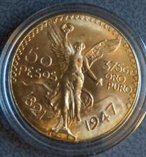 1947 50 Peso 1.2 oz Gold Coin Brilliant Uncirculated In Capsule