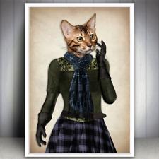 CAT KITTEN ART PRINT VINTAGE ANTIQUE STYLE GIFT CAT LOVER TARTAN DRESSED ANIMAL