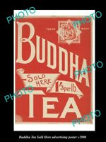 8x6 HISTORIC AUSTRALIAN ADVERTISING POSTER BUDDHA TEA S8x6 HERE c1900