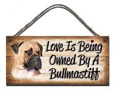 Signo de madera perro Bull Mastiff amante del animal doméstico Regalo Presente