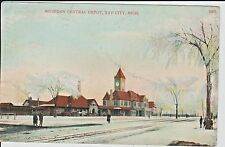 1908 Michigan Central Depot with Snow in Bay City, MI Michigan PC