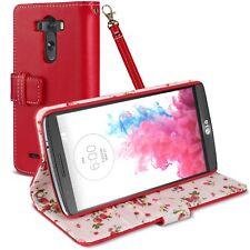 Funda Billetera Soporte para LG G3 Cuero Eco Patrón Floral Rojo