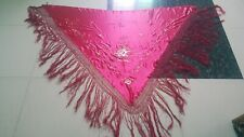 Antique Chinese Hand Embroidery Piano  cape shawl  172by122+Fringe43 cm red mult