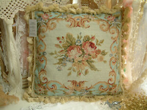 """14"""" So Beautiful Blue Whole Petit Point Country Shabby Chic Needlepoint Pillow"""
