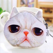 Kawaii Cat Face Animal Wallet Purse Zipper Case Coin Pouch Womens Ladies