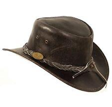 Cuir Véritable Chapeau De Plein Air Cowboy Noir - Plage Couleur Split - Taille L