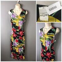 High Street Chainstore Vintage Black Floral Sleeveless Dress UK 14 EUR 42