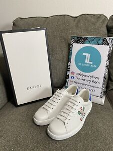 GUCCI Ace Tennis-embroidered Leather Low-top Trainers In White,blue Size 7US/6UK