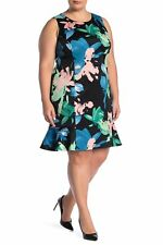 VINCE CAMUTO Black Dress Floral Dress Plus Size 20W NEW Casual Day Evening Dress