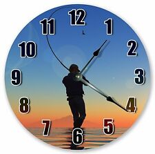 "10.5"" FISHING GUY CLOCK - Large 10.5"" Wall Clock - Home Décor Clock - 3178"