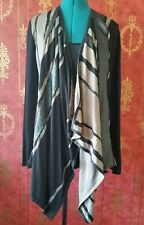 Alberto Makali New York Casual Contrast Striped Faux Leather Cardigan. Size XL.
