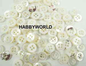 Small Mother Of Pearl MOP Real Shell 9mm Buttons Ivory White Sewing Shirt Button