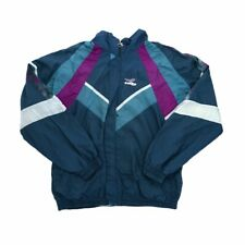 Vintage Diadora Retro Shell Suit Jacket - XXL - Green & Purple