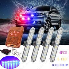 4x 6 LED Blue Car Strobe Warning Flashing Wireless Remote Control Light Bar Lamp