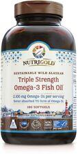 NutriGold Triple Strength Wild Alaskan Fish Oil Omega-3 Gold 180 Softgels