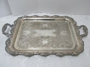 SERVING TRAY Sheffield Silverplate on Copper Shell & Flower Embossed Rim 27x17