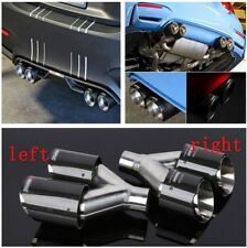 63mm Car Exhaust Tip Dual Pipe Left+Right Genuine Carbon Fiber Stainless Steel
