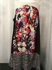 DKNYC Women's Dress Black w/ Red Purple and Ivory Print Size 22 W