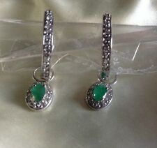 2.05 Ct, Emerald Earrings, Hoop, Drop, Dangle, Platinum On Sterling Silver