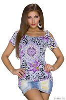 Sexy Tshirt  Shirt Top mit Flower Print + Cut Out Mehrfarbig Lila M 36 / 38