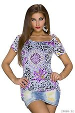Sexy Tshirt  Shirt Top mit Flower Print + Cut Out Mehrfarbig Lila M 36 / 38
