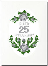 SILVER (25) ROSES ANNIVERSARY CROSS STITCH CARD KIT
