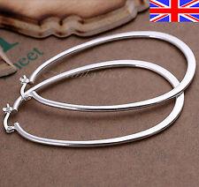 Silver 925 Sterling U Hoop Earrings XL Large Smooth  Free Gift Bag
